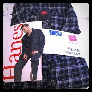 Hanes Flannel Pajama Sleepwear Set Large NWT